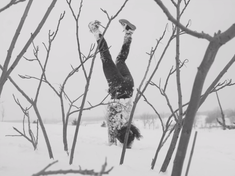 Marie-Eve Dicaire does a handstand in snow, surrounded by tree branches